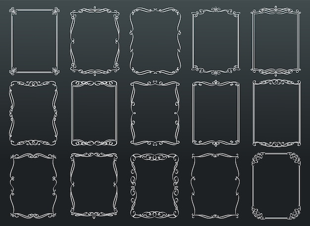 黒板のヴィンテージ装飾長方形レトロフレームテンプレート