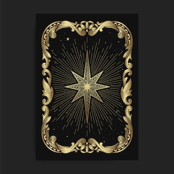 Vintage ornamental star card, with engraving, luxury, esoteric, boho, spiritual, geometric, astrology, magic themes, for tarot reader card.