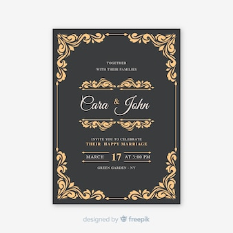 Vintage ornamental wedding card