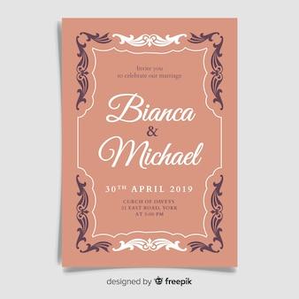 Vintage ornamental wedding invitation template