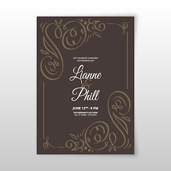 Vintage ornamental wedding invitation template