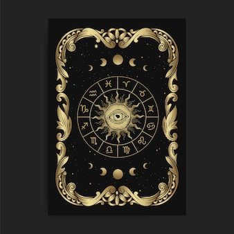 Vintage ornamental zodiac card wheel card, with engraving, luxury, esoteric, boho, spiritual, geometric, astrology, magic themes, for tarot reader card.