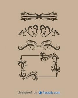Старинные украшения и векторный набор кадров