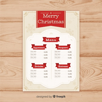 Vintage ornaments christmas menu template