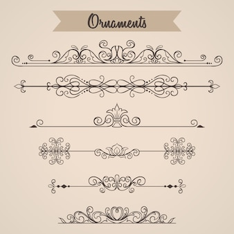 Vintage ornaments collection with hand drawn style for wedding