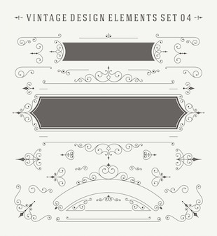 Vintage ornaments decorations design elements set.