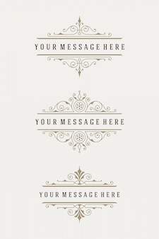 Vintage, ornaments decorations elements flourishes calligraphic ornate dividers combinations