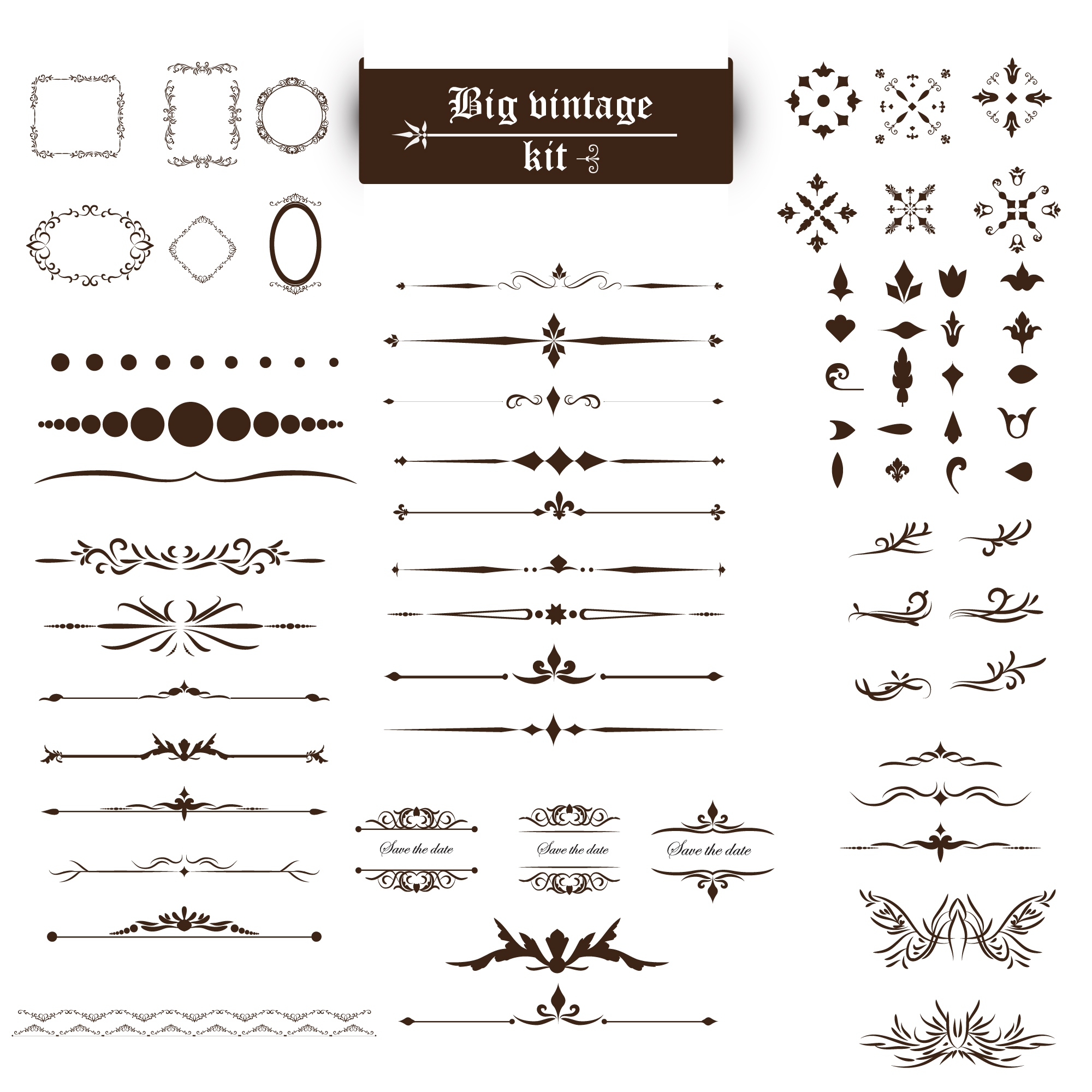Ornament vectors 80900 free files in eps format vintage ornaments kit stopboris Choice Image