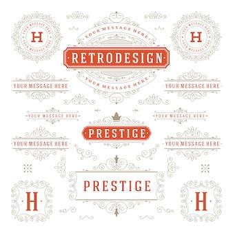 ヴィンテージの装飾品まんじとスクロール装飾デザイン要素ベクトルセット華麗な書道が盛ん