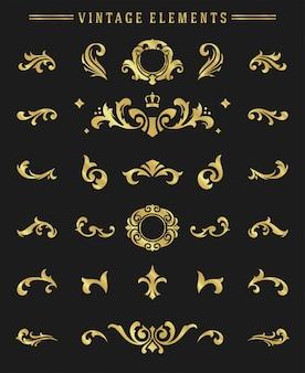 Vintage ornaments vignettes set floral elements for design