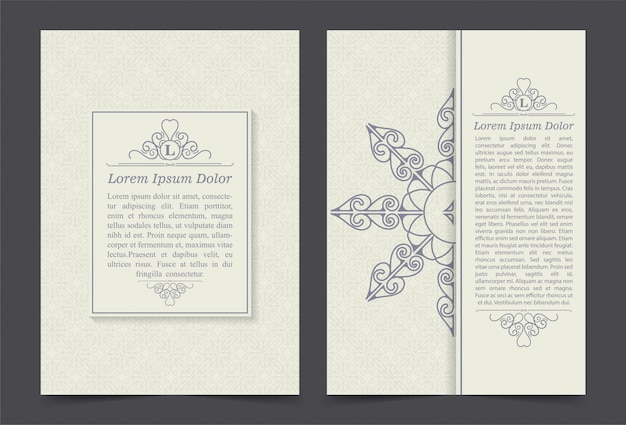 Vintage ornate covers in oriental style with mandala