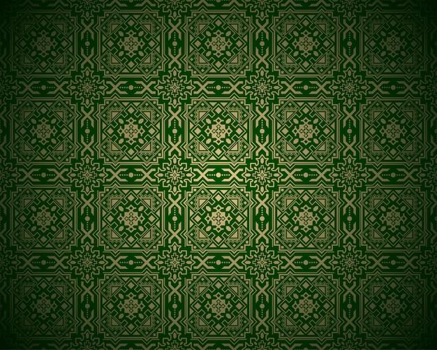 ヴィンテージの華やかな金と緑のパターン