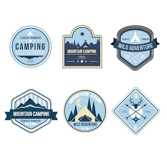 Vintage outdoor camp badges and logo emblems