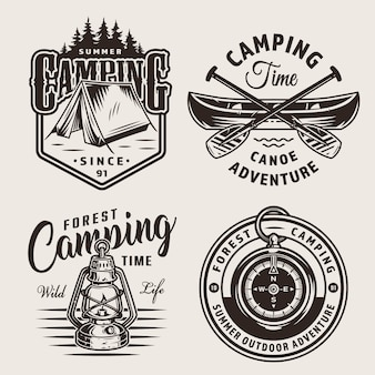 빈티지 야외 캠핑 로고