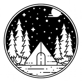 Vintage outdoor monoline badge design