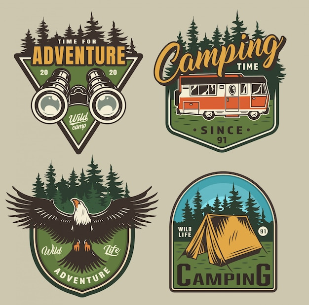 Vintage outdoor recreation badges