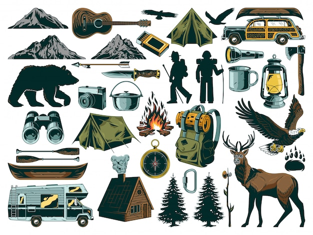 Vintage outdoor recreation elements collection. set with wild animals, things for travel, journey, adventure, trip, exploring, camping on nature mountains and canoe.