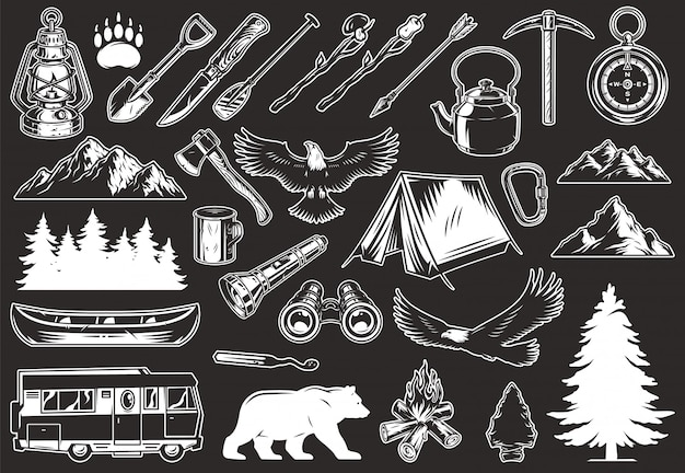 Vintage outdoor recreation elements collection