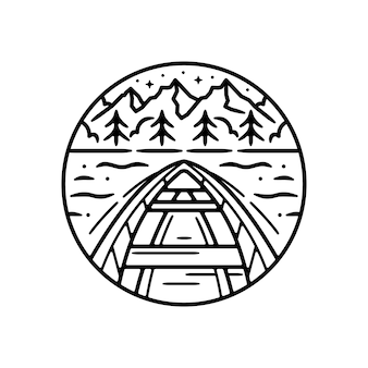 Vintage outdoor sticker, patch, pin badge design. with boat and a mountain schene