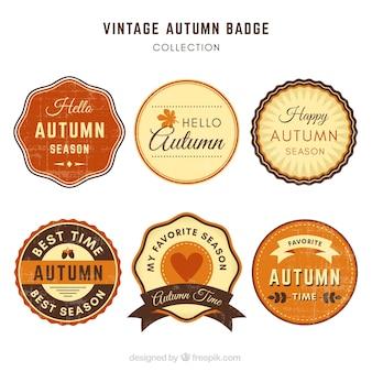 Pacchetto vintage di badge autunnali