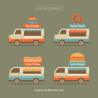 Vintage pack of food trucks
