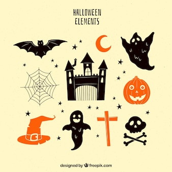 Vintage pack of halloween elements