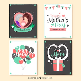Vintage pack of four greeting cards for mother's day