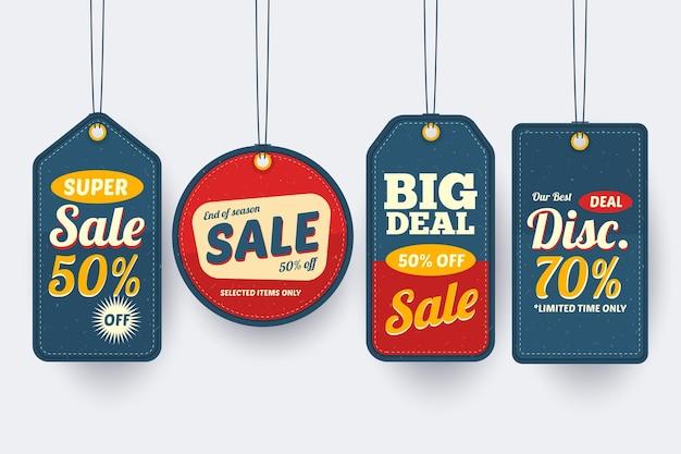 할인 판매 태그의 빈티지 팩