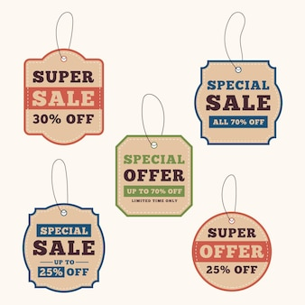 Vintage pack of sales tags with discounts