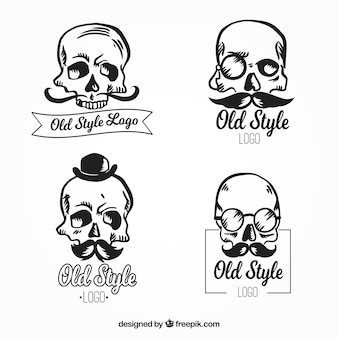 Vintage pack of skull logos