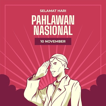 Vintage pahlawan heroes' day background with man