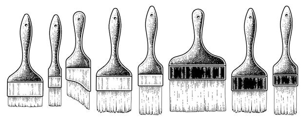 Коллекция старинных кистей рисованной эскиз векторные иллюстрации