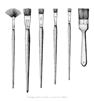 Vintage paint brushes set hand drawing isolated on white background