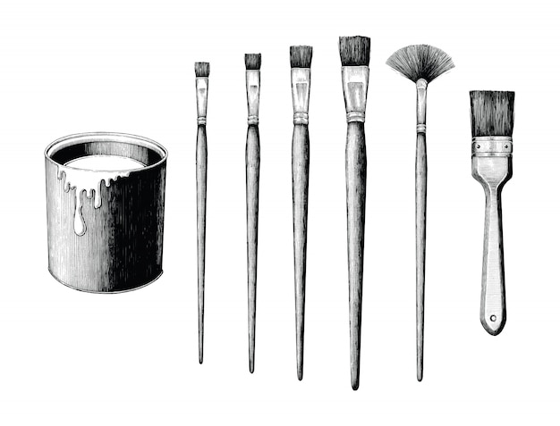 Vintage paint brushes set and paint can hand drawing isolated on white background