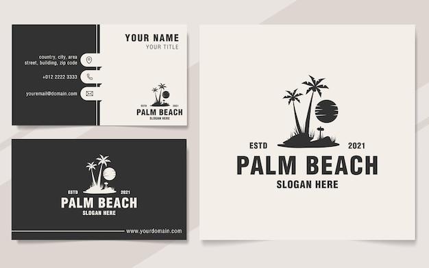 Vintage palm beach logo template monogram style