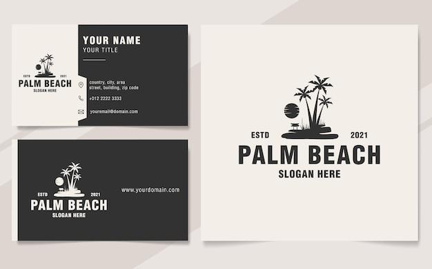 Урожай пальмовый пляж логотип шаблон в стиле монограммы