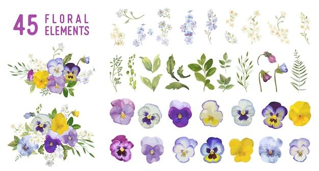 Винтажные цветы и листья анютиных глазок, весенние фиолетовые цветочные композиции в стиле акварели. векторная коллекция элементов дизайна летний сад. набор иллюстраций цветения