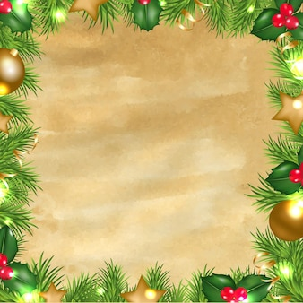 Vintage paper background with christmas border