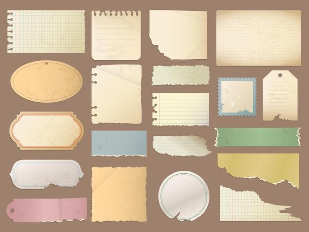 빈티지 종이. 레트로 스크랩북 스티커 긁힌 복고풍 일기에 대 한 디자인 요소 빈 종이 질감.