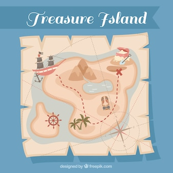 Vintage paper with pirate treasure map