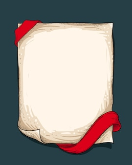 Vintage paper with red ribbon
