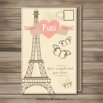 Vintage paris postcard template