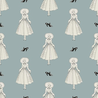 Vintage parisian fashion pattern  feminine background, remix from artworks by george barbier Free Vector