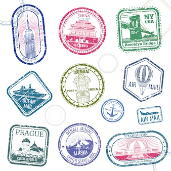 Vintage passport travel vector stamps with international symbols and famous trademark