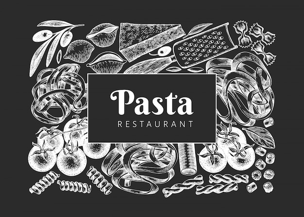 Vintage pasta different kinds background.
