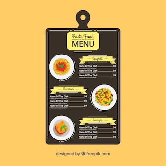 Vintage pasta menu