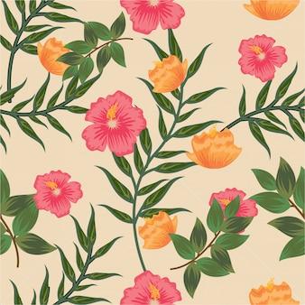 Vintage pastel color floral flower seamless pattern