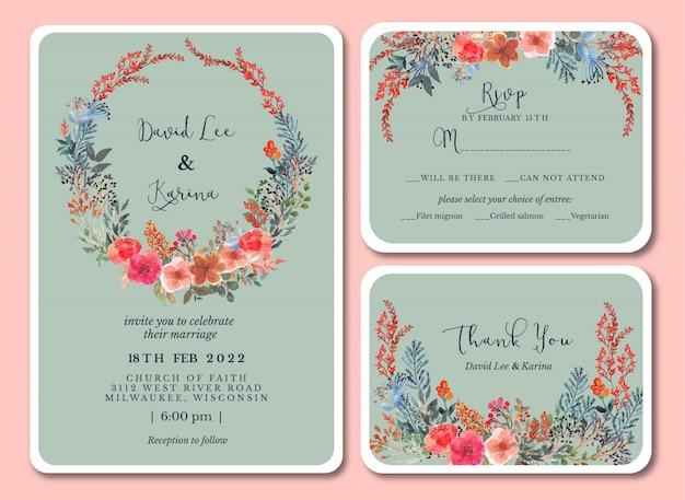 Vintage pastel wedding invitation with floral watercolor