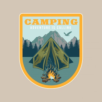 Vintage patch,   with camping in forest, campfire, old tent, mountains. adventure, travel, summer camping, outdoor, natural, journey.