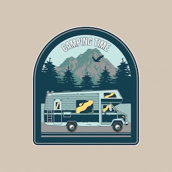 Vintage patch,   with classic family camper car for caravanning on mountains. adventure, travel, summer camping, outdoor, natural journey